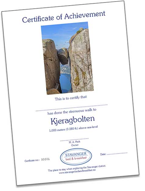Kjeragbolten Kjerag Norway Certificate of Achievement